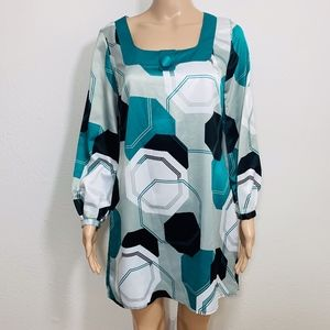 Mixit Long Sleeve Geometric 70s Dress XS